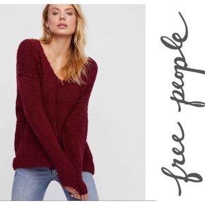 Small FP Burgundy V Neck Lofty Sweater